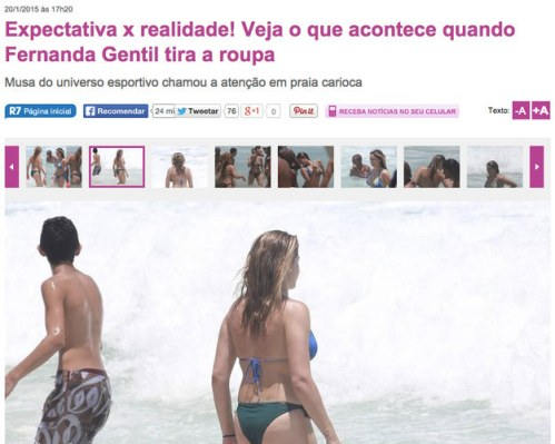 Reprodução de galeria publicada no portal R& com fotos da jornalista Fernanda Gentil (Reprodução)